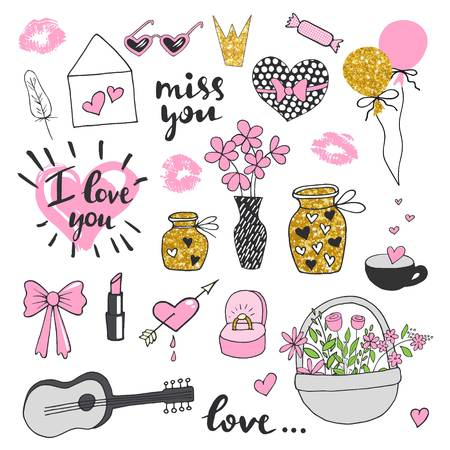 blockhead: Set romantic Valentines Day doodles. Collection hand drawn elements Illustration