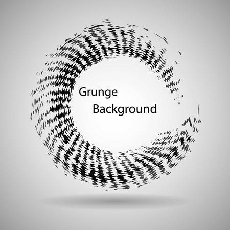 garabatos: Dibujado a mano la forma de círculo. etiqueta, logotipo elemento de diseño. Cepillar abstracto de la onda. ENOS negro símbolo del zen. ilustración vectorial