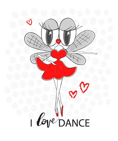 hairy legs: Fly ballerina. I love dance - inscriptions. Vector hand-drawn illustration. Cartoon concept art for textiles, T-shirt printing, magazines, books, web sites, banners, applications and other design project.