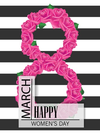 8 March Design with roses. International Womens Day Background.