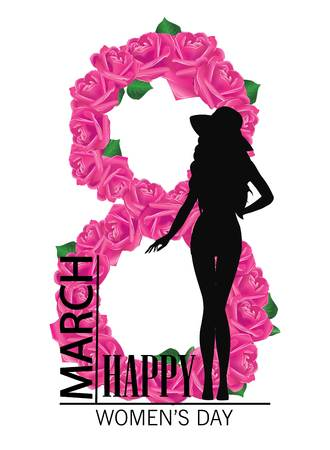 Happy womens day. 8 march Design with girl and roses. International Womens Day Background. Ilustracja
