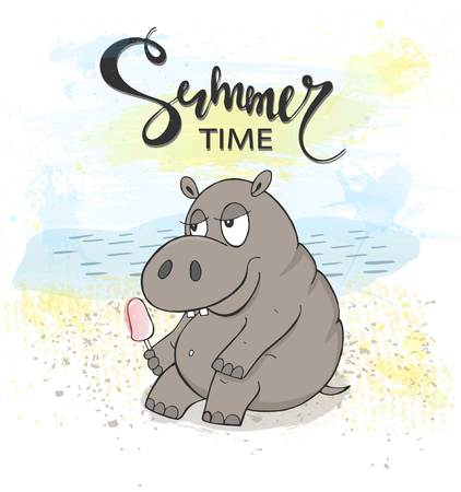Cute Hippo with ice cream on the beach. Summer time