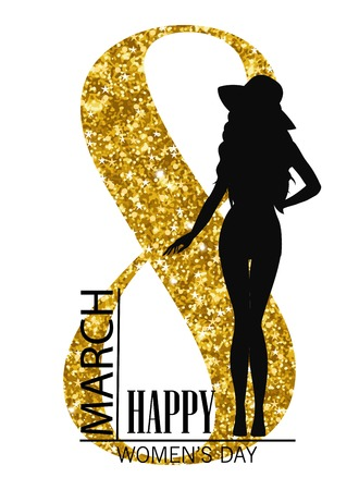 Happy womens day. 8 march Silhouette of a girl and gold tinsel International Womens Day Background Stock Photo