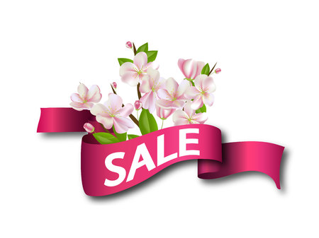 Sale Pink ribbon with flowers. 向量圖像