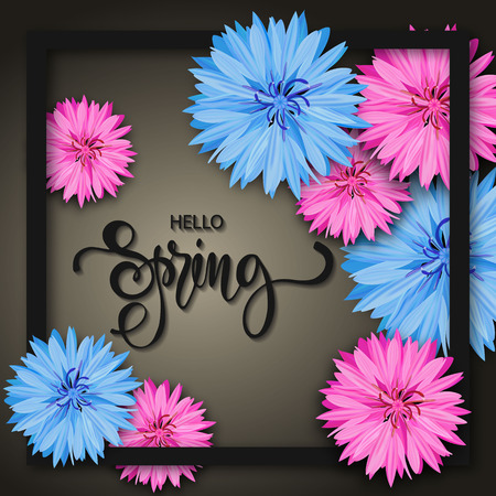 aster: Spring background with beautiful flowers. Greeting card with hand drawn lettering. Vector illustration template, banners. Wallpaper, flyers, invitation, posters, brochure.