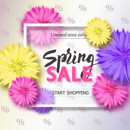 aster: Spring sale background with flowers. Season discount banner. Vector illustration ,template. Wallpaper, flyers, invitation, posters, brochure.