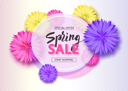 Spring sale background with flowers. Season discount banner. Vector illustration ,template. Wallpaper, flyers, invitation, posters, brochure