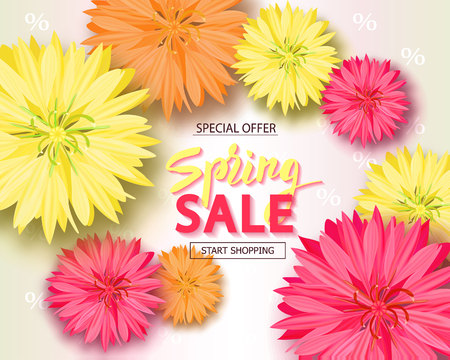 Spring sale background with flowers. Season discount banner. Vector illustration ,template. Wallpaper, flyers, invitation posters brochure