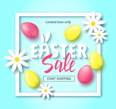 Easter sale banner background template with beautiful colorful spring flowers and eggs. Vector illustration Illustration