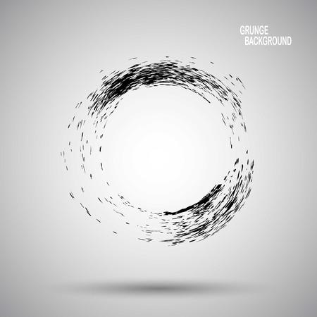 Hand drawn circle shape. label, logo design element. Brush abstract wave. Black enso zen symbol. Vector illustration