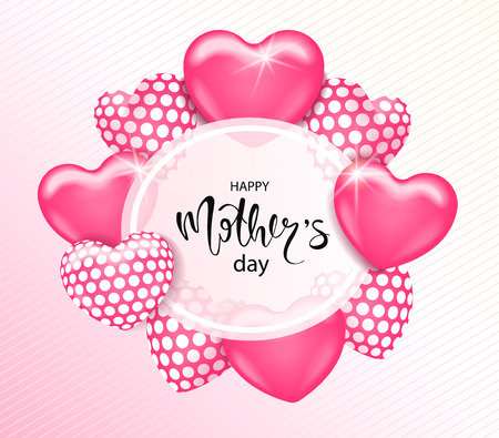 Happy Mothers day card template with cute pink heart balloons with lettering. It may be used for background, poster, advertising, sale, postcard, e-card. Vector illustration Illustration