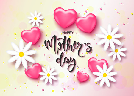 Happy Mothers day card template with cute pink heart and chamomile. It may be used for background, poster, advertising, sale, postcard, e-card. Vector illustration