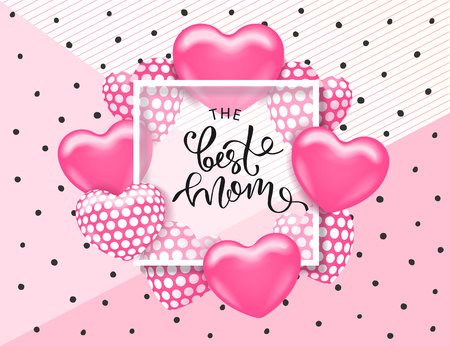The best mom card template with cute pink heart and lettering. It may be used for background, poster, advertising, sale, postcard, e-card. Vector illustration Illustration