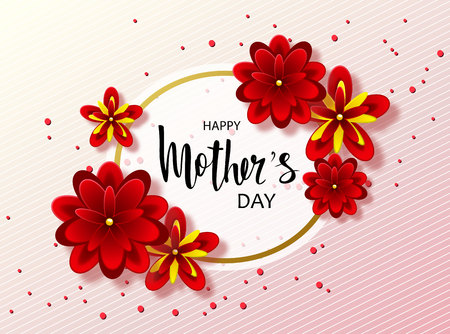 aster: Happy mothers day background with beautiful flowers. Greeting card with hand drawn lettering. Vector illustration template, banners. Wallpaper, flyers, invitation, posters, brochure