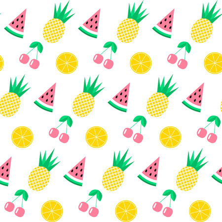 Seamless pattern with watermelon, pineapple, cherry and orange.