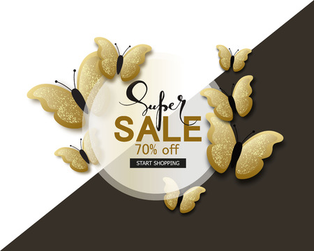 Super sale banner background template with beautiful golden butterflies. Vector illustration.