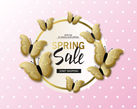 Spring sale banner background template with beautiful golden butterflies. Vector illustration.