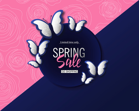 Spring sale banner background template with beautiful silver butterflies. Vector illustration.