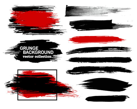 muddy: Large grunge elements set. Brush strokes, banners, borders, splashes, splatters. Vector illustration. Black and red collection.