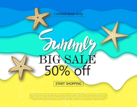 Summer big sale banner with cut paper waves and starfish. Vector illustration eps 10 format. Vector illustration template, banners. Wallpaper, flyers, invitation, posters brochure.