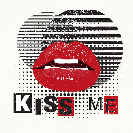 Decorative typography poster Kiss Me. Red lips on a grunge background.