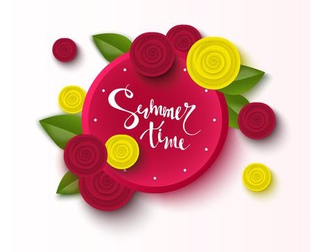 Summer time background with beautiful rose. Season discount banner. Vector illustration ,template. Wallpaper, flyers, invitation, posters, brochure Illustration