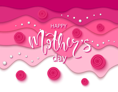 Happy mothers day background with beautiful roses and beads. Greeting card . Vector illustration template, banners. Wallpaper, flyers, invitation, posters, brochure