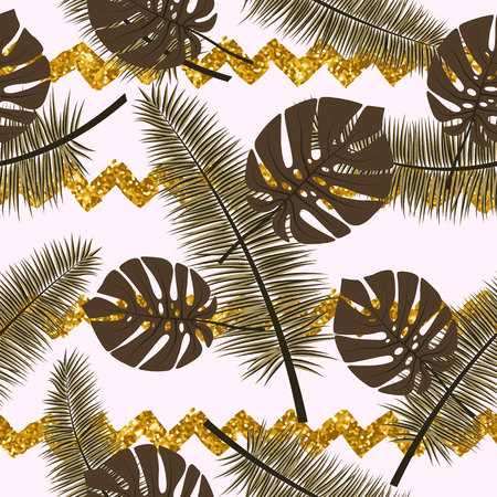 Beautiful seamless vector floral summer pattern background with tropical palm leaves and gold tinsel. Illustration