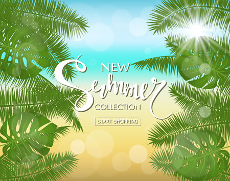 New summer collection sale banner. Exotic tropical background with leaves and plants. Vector illustration eps 10 format. Vector illustration template, banners. Wallpaper, flyers, invitation, posters