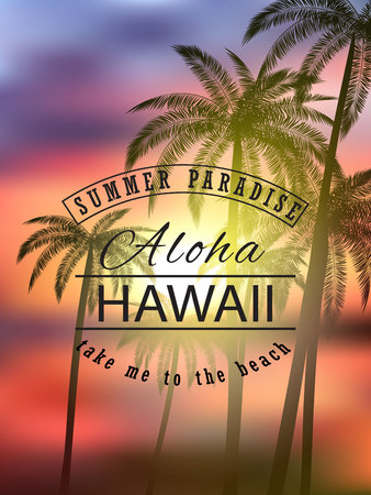 Aloha hawaii. Summer tropical background with palms, sky and sunset. Vector illustration eps 10 format. Vector illustration template, banners. Wallpaper, flyers, invitation, brochure