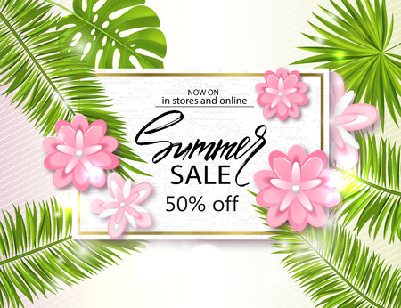 Summer sale banner, poster with palm leaves, jungle leaf, beautiful flowers and handwriting lettering. Vector illustration. Illustration