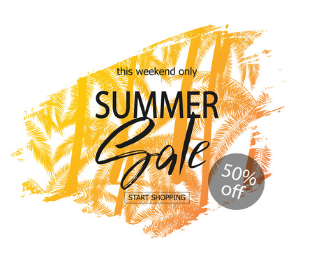 Summer sale banner. Tropical background with palm trees. Vector illustration EPS10