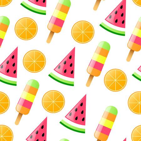 Seamless pattern with watermelon, orange and ice cream. Vector illustration Illustration