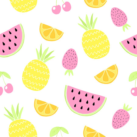 Seamless pattern with fruits. Cute summer background. Vector illustration Illustration