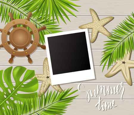 Summer time background with photo frames, tropical plants, leaves, starfish and wheel on wooden board . Vector illustration Illustration