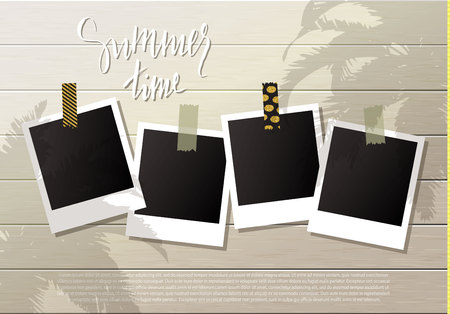 photo album: Summer background .Set of photo frames with adhesive tape. Wooden wall. Vector illustration