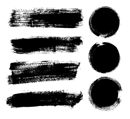 Set of black paint, ink brush strokes, brushes, lines. Dirty artistic design elements, boxes, frames for text Vector Illustration