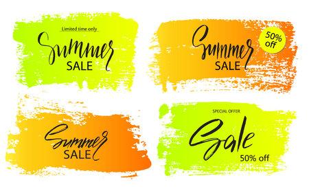 Set van kleurrijke zomer verkoop banners. Frames, dozen, borstelslagen, tekens, badges, stickers, achtergronden voor reclame, tekst, zaken, promotie. Vector illustratie Stockfoto - 80048876
