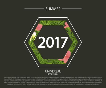 Set van zomer verkoop banner templates met tropische bladeren en