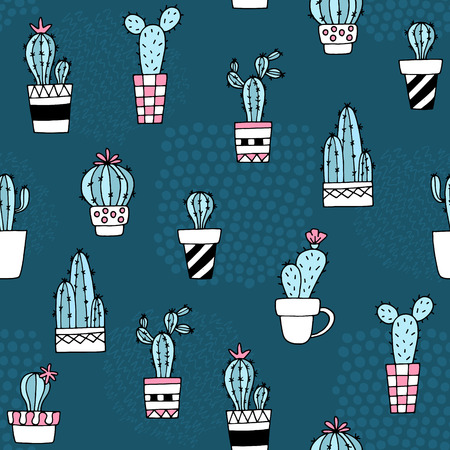 Seamless pattern with cute cactus and hand drawn textures.Perfect for fabric,textile.Vector background.