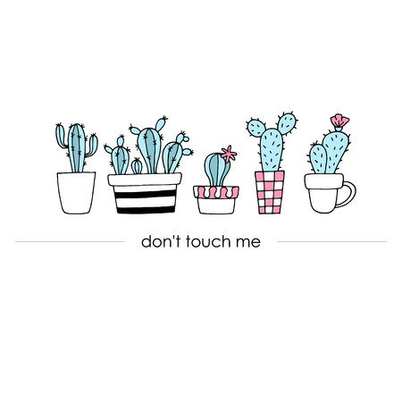 tree isolated: Trendy banner, poster with cute hand drawn cactus