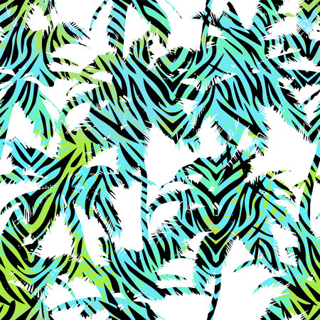Trendy seamless exotic pattern with palm and animal prints . Modern abstract design for paper, wallpaper, cover, fabric and other users. Vector illustration Illustration