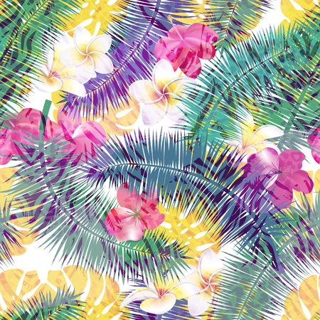 Beautiful seamless vector floral summer pattern background with tropical palm leaves and flowers . Perfect for wallpapers, web page backgrounds, surface textures, textile.