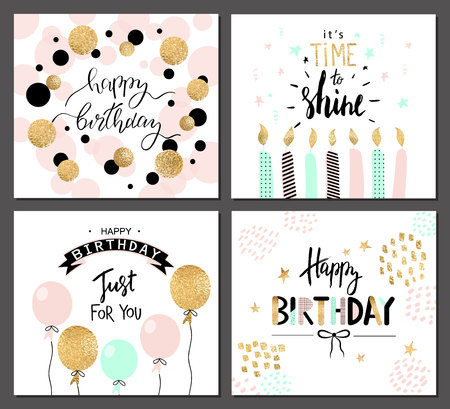 hooray: Happy birthday greeting cards and party invitation templates with lettering text. Vector illustration. Hand drawn style