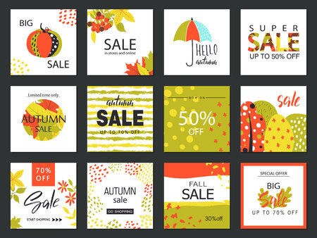 fall leaves: Set of artistic creative autumn sale cards. Hand Drawn style . Design for sale and special offer. Vector templates for poster, card, tag, placard, brochure, flyer, web