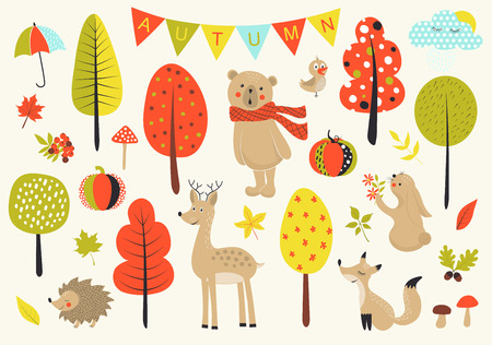 Autumn forest in vector set with cute forest animals, leaves, mushrooms and trees in cartoon style.
