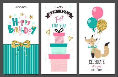 Happy birthday greeting cards and party invitation templates .Vector illustration. Çizim