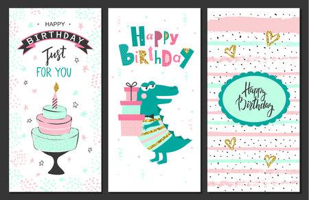 hooray: Happy birthday greeting cards and party invitation templates .Vector illustration. Illustration