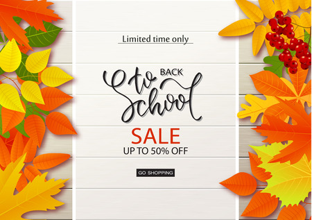 Back to school sale background with leaves on wooden boards.Vector illustration.