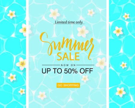 Summer sale poster with pool surface and tropical flowers, vector illustration. Illustration